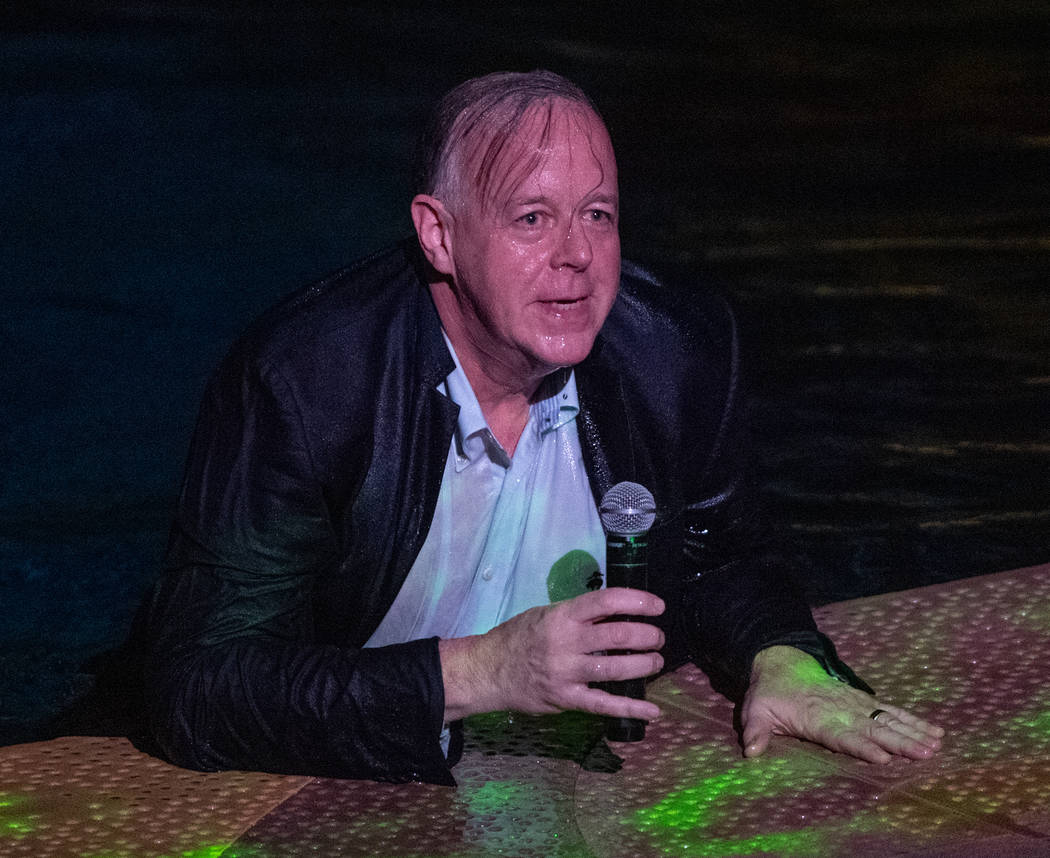 """Cirque du Soleil President Jerry Nadal is shown after being tossed into the water before """"One Night For One Drop,"""" held at O Theater at the Bellagio on Friday, March 8, 2019. (Tom Donoghue)"""