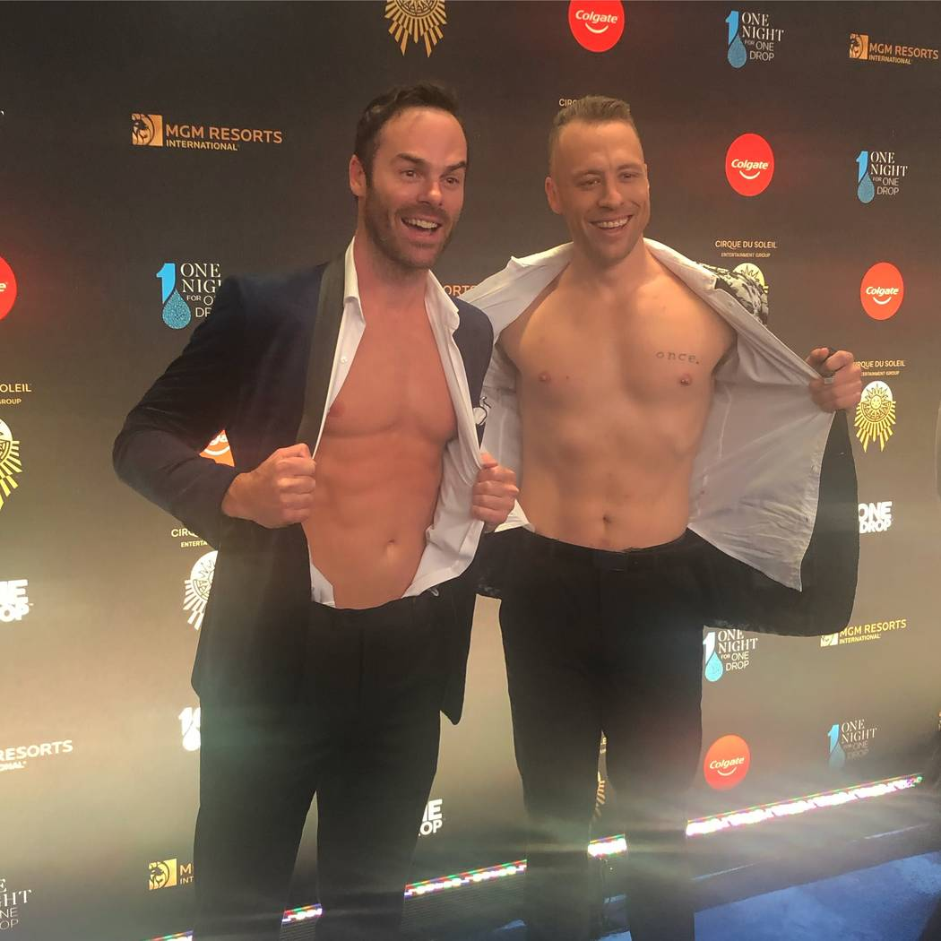 """MGM Grand headliners the Naked Magicians (Mike Tyler, left, and Christopher Wayne) are shown on the Blue Carpet prior to """"One Night For One Drop,"""" held at O Theater at the Bellagio on Friday, Marc ..."""