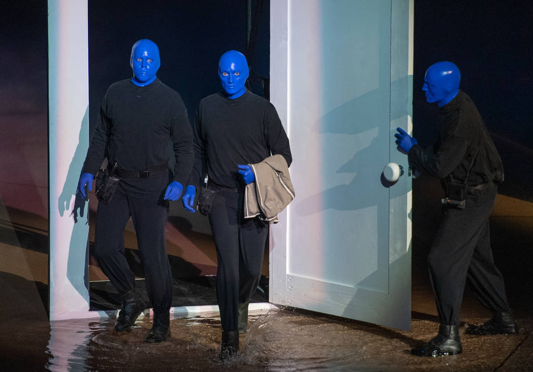 """The Blue Man Group is shown in scene from """"One Night For One Drop,"""" held at O Theater at the Bellagio on Friday, March 9, 2019. (Tom Donoghue)"""