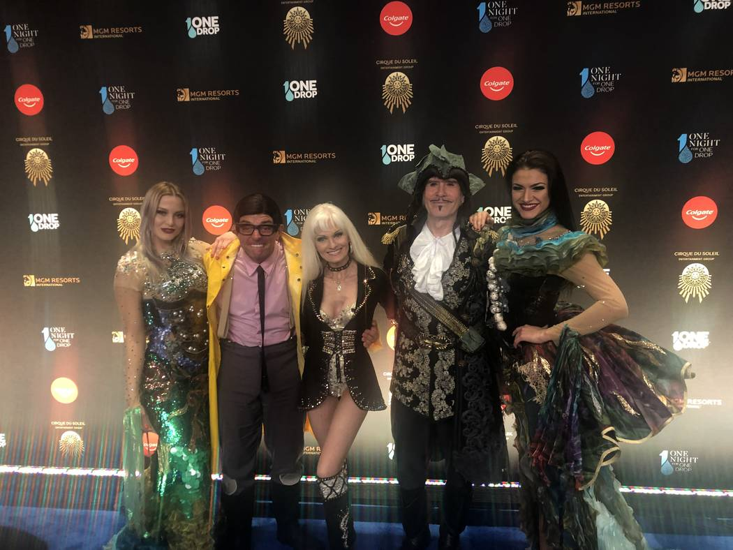 """The cast of """"Wow -- World of Wonder"""" at the Rio is shown on the Blue Carpet prior to """"One Night For One Drop,"""" held at O Theater at the Bellagio on Friday, March 8, 2019.( John Katsilometes/Las V ..."""