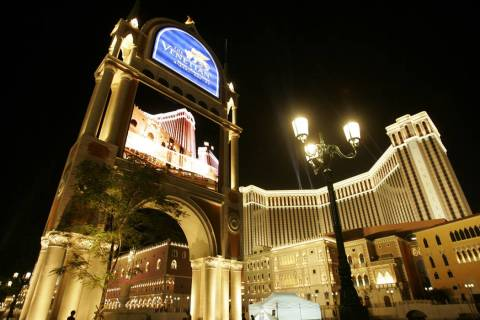 The Venetian Macao Resort Hotel is shown in Macau. Attorneys for Hong Kong businessman Richard Suen and Las Vegas Sands Corp. disagreed Wednesday, March 13, 2019, over how much Suen should be comp ...