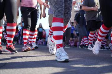Red and white striped socks will be given out during the Ronald McDonald House Charities of Greater Las Vegas 15th annual Runnin' for the House 5K run and 1-mile Fun Walk on April 6. (RMHC Marke ...