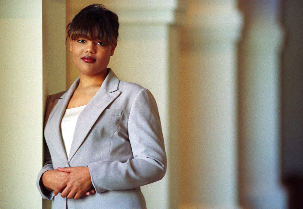 In this Feb. 10, 2000, file photo, Freeda Foreman stands in The Regent Las Vegas Hotel and Casino in Las Vegas, following a press conference announcing her professional boxing debut. The 42-year-o ...