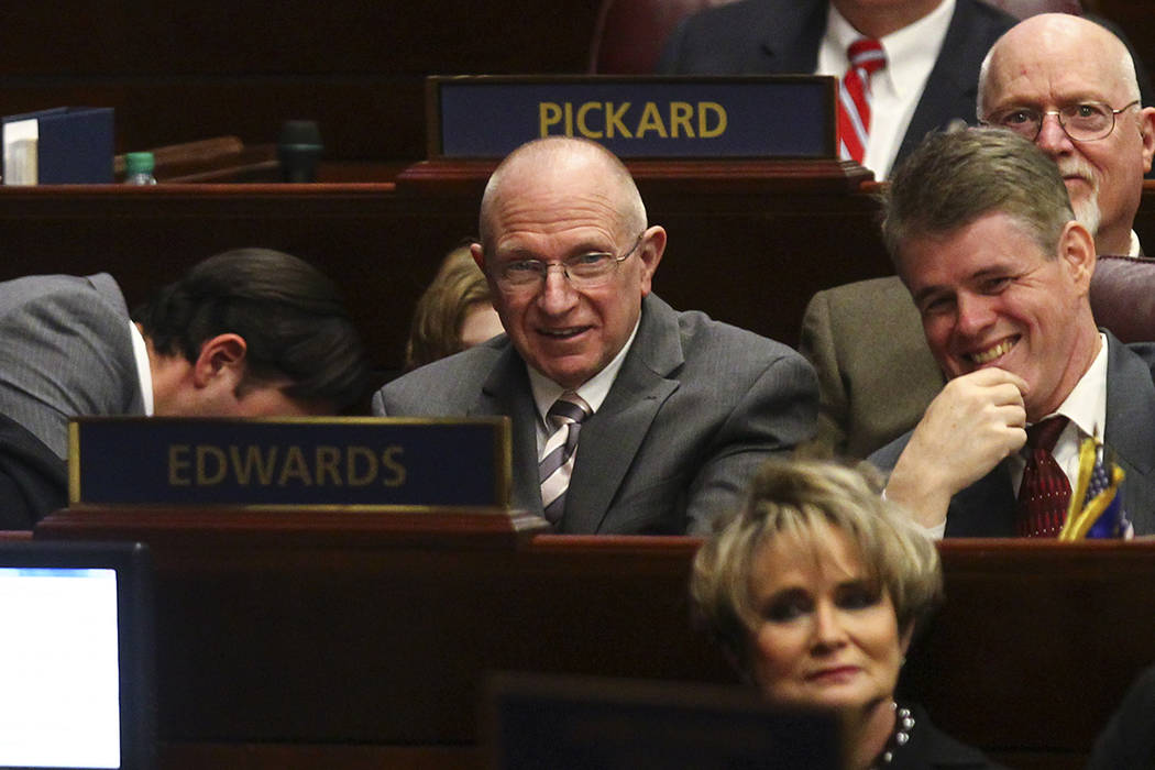 State Sen. Joseph Hardy, D-Las Vegas, center, during Nevada Gov. Brian Sandoval's final State of the State address at the Legislative Building in Carson City on Tuesday, Jan. 17, 2017. (Chase Stev ...