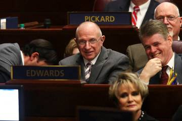 State Sen. Joseph Hardy, R-Boulder City, center, during Nevada Gov. Brian Sandoval's final State of the State address at the Legislative Building in Carson City on Tuesday, Jan. 17, 2017. (Chase S ...