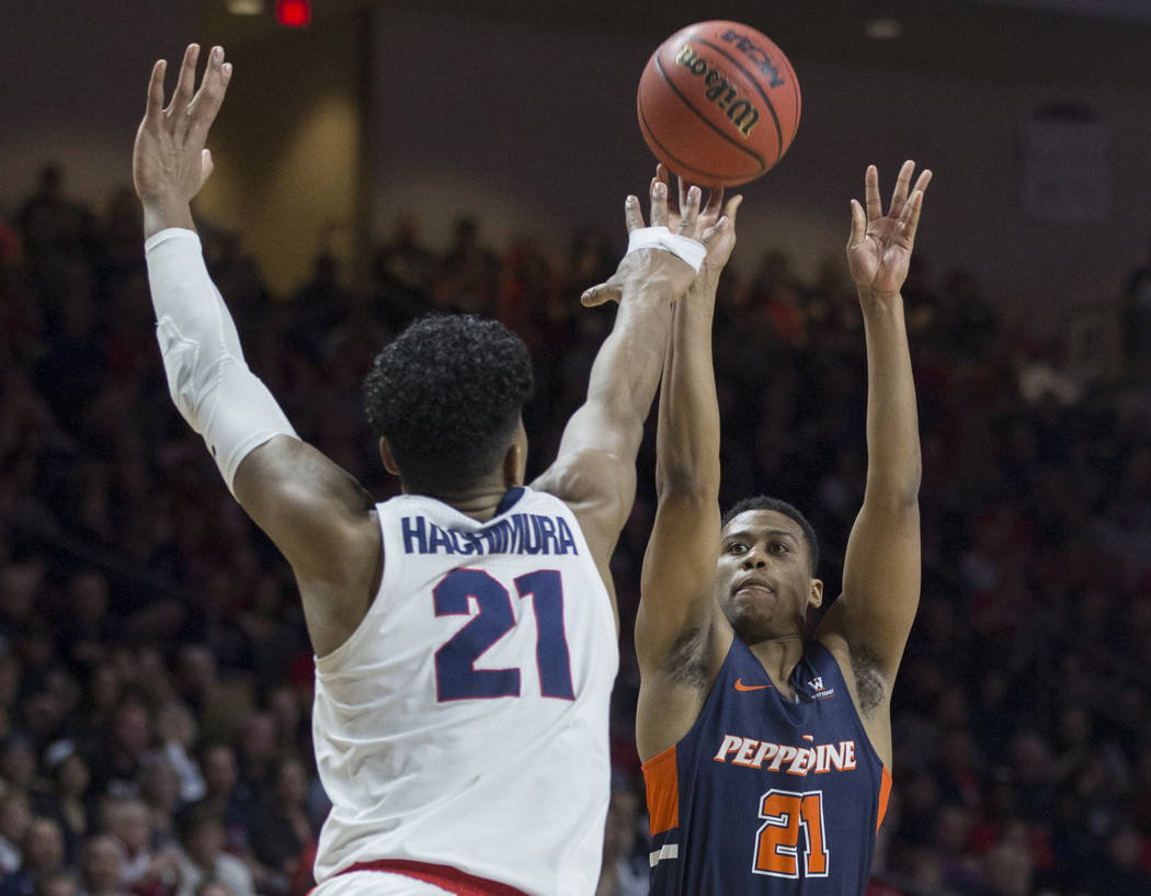Pepperdine senior guard Eric Cooper Jr. (21) shoots over Gonzaga junior forward Rui Hachimura (21) in the second half during the West Coast Conference semifinal game on Monday, March 11, 2019, at ...