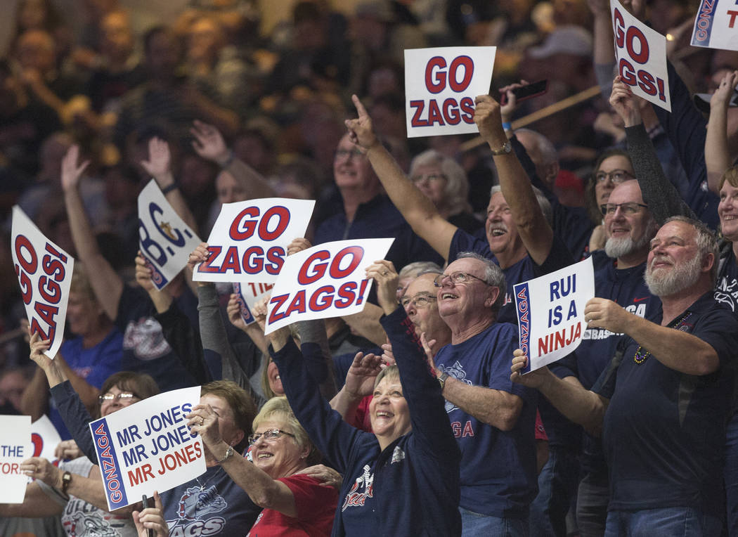 Gonzaga fans cheer in the second half during their West Coast Conference semifinal game with Pepperdine on Monday, March 11, 2019, at Orleans Arena, in Las Vegas. The Bulldogs beat the Waves 100-7 ...