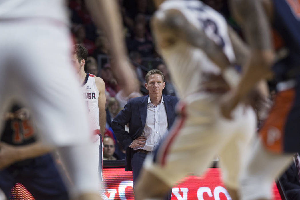 Gonzaga head coach Mark Few watches his team play defense in the second half during their West Coast Conference semifinal game with Pepperdine on Monday, March 11, 2019, at Orleans Arena, in Las V ...