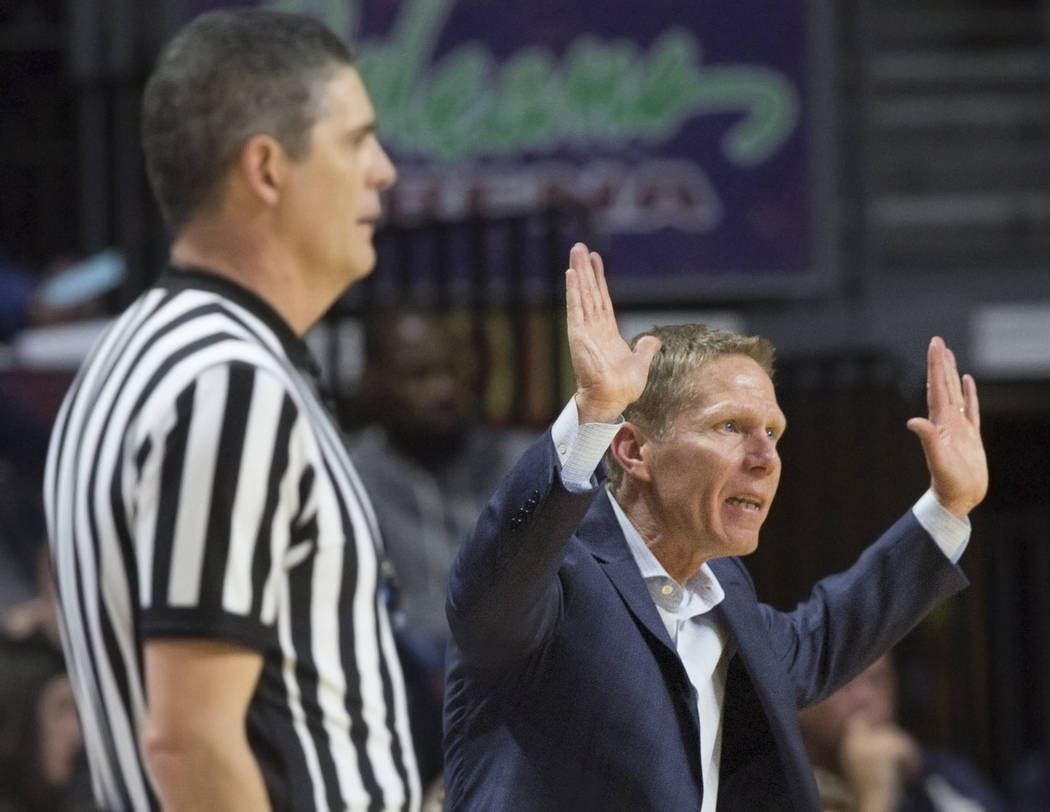 Gonzaga head coach Mark Few, right, calls an offensive play in the second half during their West Coast Conference semifinal game with Pepperdine on Monday, March 11, 2019, at Orleans Arena, in Las ...