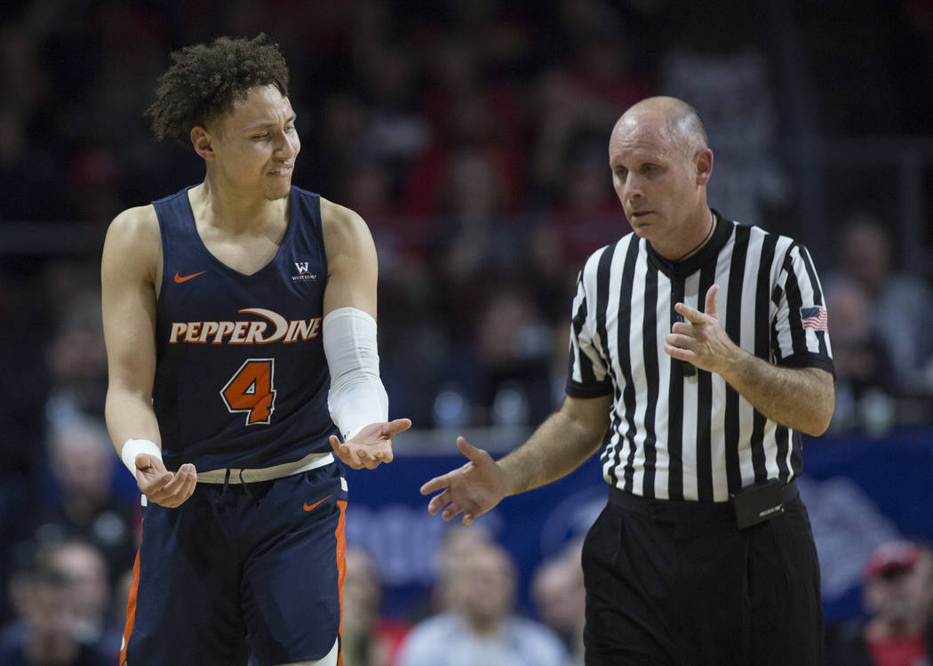 Pepperdine sophomore guard Colbey Ross (4) argues a call in the first half during their West Coast Conference semifinal game with Gonzaga on Monday, March 11, 2019, at Orleans Arena, in Las Vegas. ...