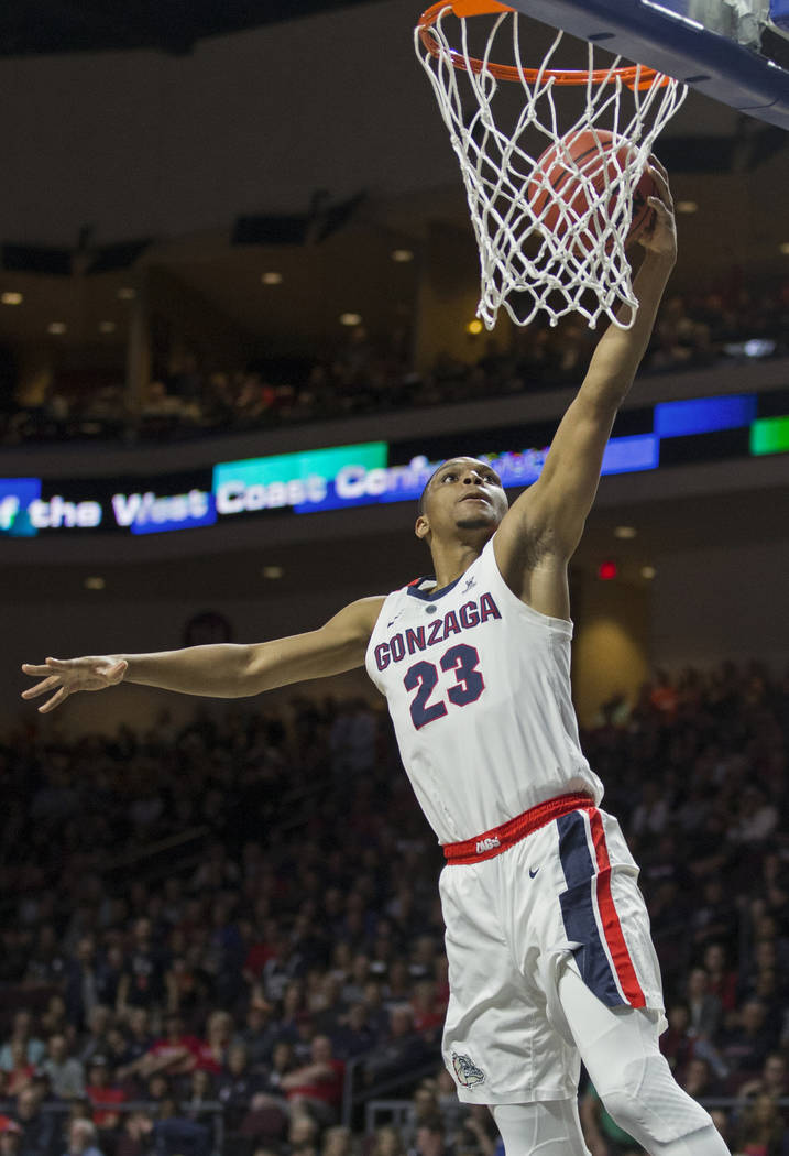 Gonzaga sophomore guard Zach Norvell Jr. (23) converts a fast-break layup in the first half during their West Coast Conference semifinal game with Pepperdine on Monday, March 11, 2019, at Orleans ...