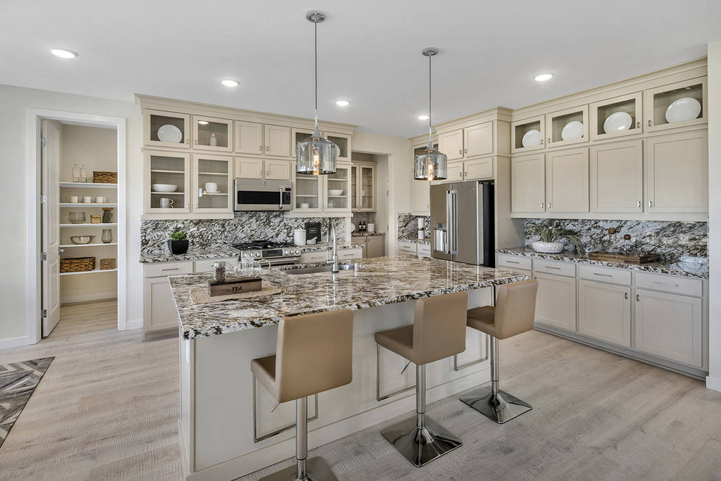 Cobalt and Onyx by Pardee Homes feature spacious, modern homes in Skye Canyon. Shown is the Cobalt Plan Two model home kitchen. (Pardee Homes)