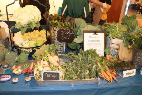 Turnips, thyme, and carrots were among the vegetables sold at the student farmers market at the Summerlin Library. (Garden Farms)