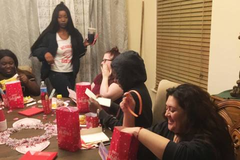 Women staying at Living Grace Homes in Henderson celebrate Valentine's Day this year. (Living Grace Homes)