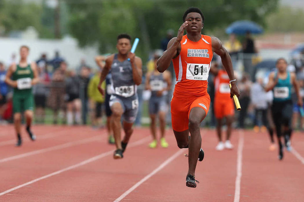 Bishop Gorman's Kyu Kelly competes in the 400-meter relay at the 2018 Class 4A state meet. (Cathleen Allison/Las Vegas Review-Journal)