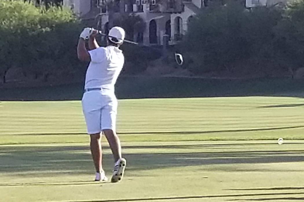 Faith Lutheran freshman Aidan Goldstein tees off on the 18th hole on Monday, May 14, 2018 at Reflection Bay. (Damon Seiters/Las Vegas Review-Journal)
