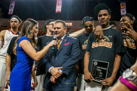 New Mexico State Aggies head coach Chris Jans is interviewed after winning the WAC final game at the Orleans Arena in Las Vegas on Saturday, March 10, 2018. Patrick Connolly Las Vegas Review-Jour ...