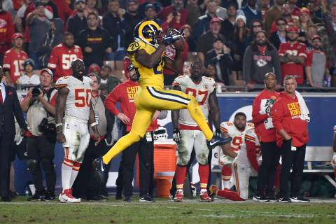Los Angeles Rams free safety Lamarcus Joyner intercept a pass against the Kansas City Chiefs in the final minute an NFL football game, Monday, Nov. 19, 2018, in Los Angeles. The Rams won 54-51. (A ...