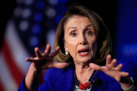 In this March 8, 2019, photo, House Speaker Nancy Pelosi of Calif., speaks at the Economic Club of Washington in Washington. Pelosi is setting a high bar for impeachment of President Donald Trump, ...