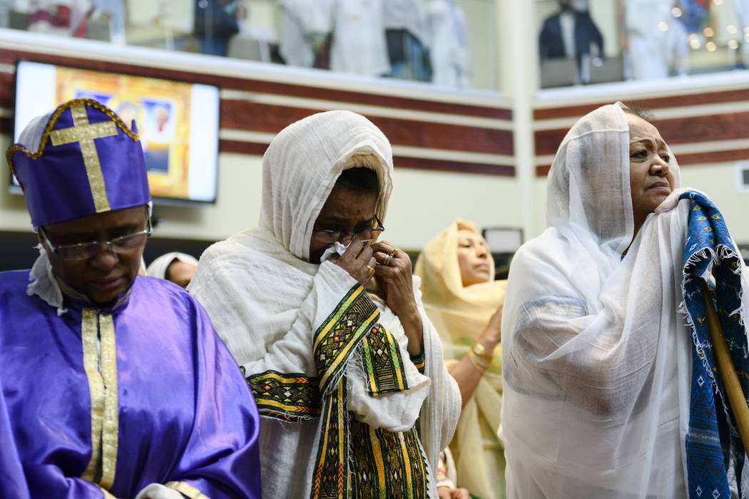 Members of the Ethiopian community take part in a special prayer for the victims of the Ethiopian Airlines flight ET302 crash, at the Ethiopian Orthodox Tewahedo Church of Canada Saint Mary Cathed ...