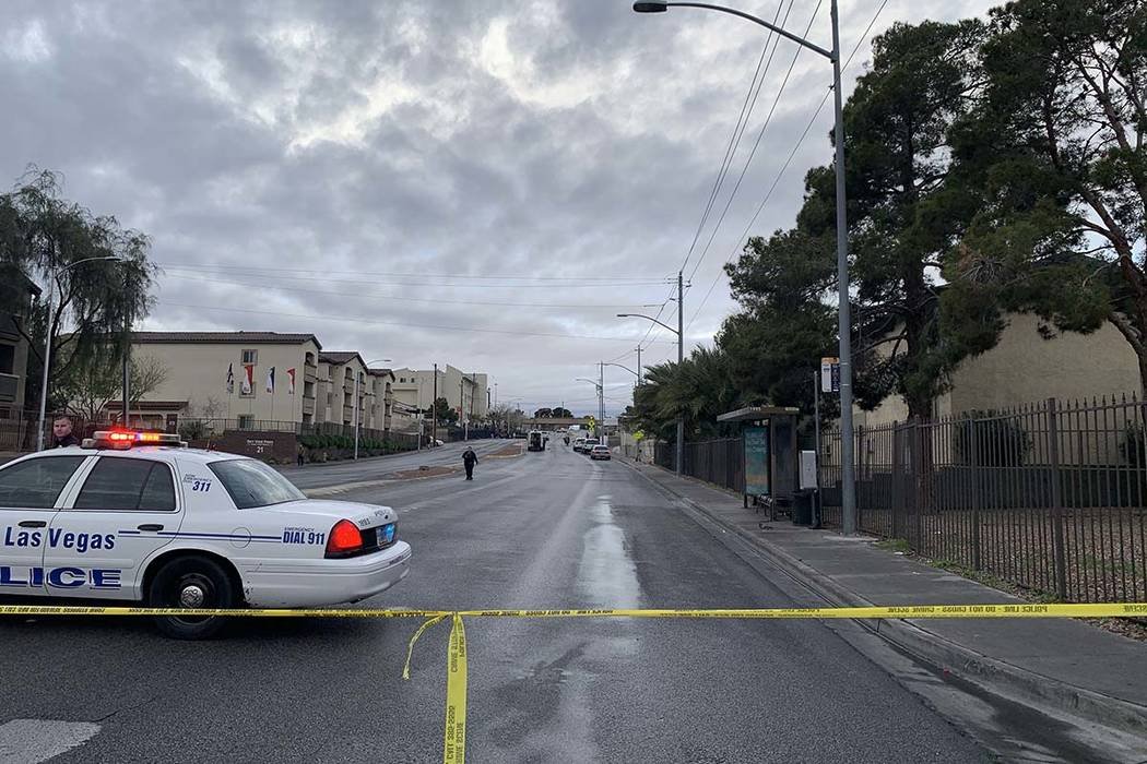 North Las Vegas police are investigating the fatal crash that happened in the area of Owens Avenue and Main Street Tuesday, March 12, 2019. (Jessica Terrones/Las Vegas Review-Journal)
