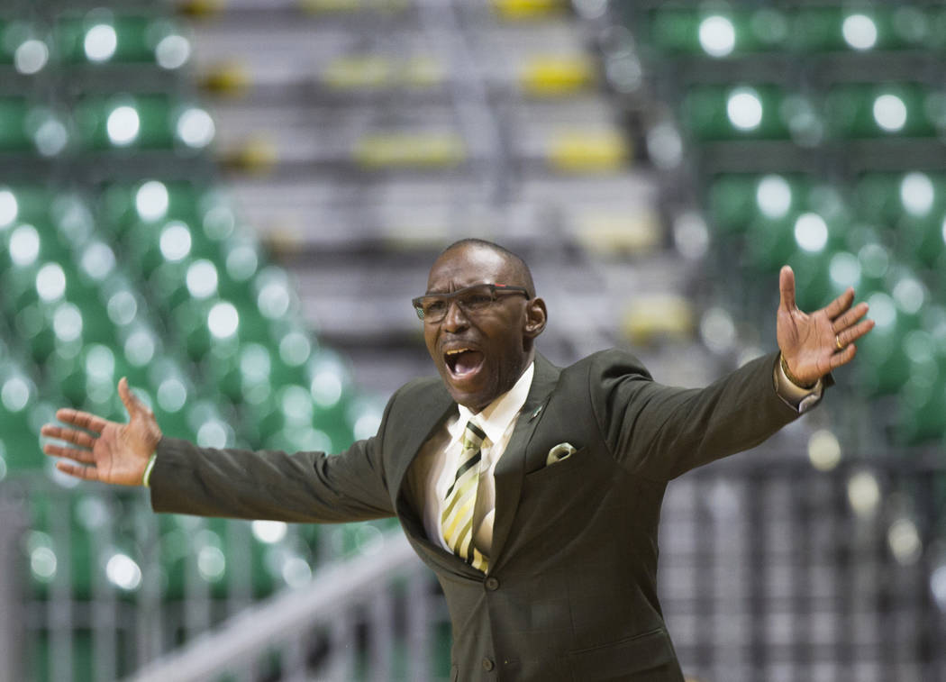 Chicago State head coach Lance Irvin argues a call during the Cougars opening round Western Athletic Conference tournament game with New Mexico State on Thursday, March 14, 2019, at Orleans Arena, ...