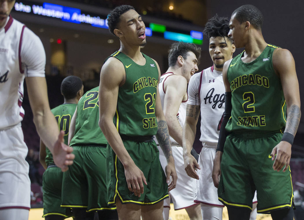 Chicago State sophomore forward Cameron Bowles (21) expresses his frustration with a call during the Cougars opening round Western Athletic Conference tournament game with New Mexico State on Thur ...