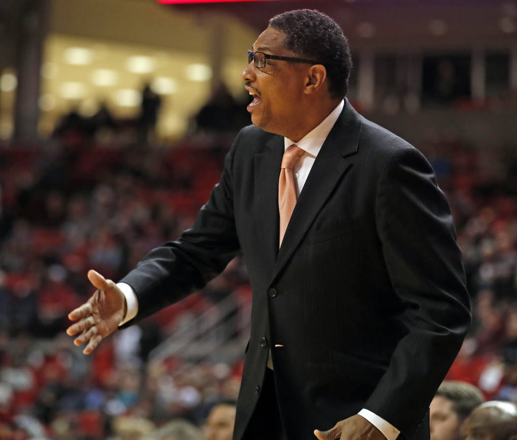 Texas-Rio Grande Valley coach Lew Hill yells to his players during the first half of an NCAA college basketball game against Texas Tech, Friday, Dec. 28, 2018, in Lubbock, Texas. (AP Photo/Brad To ...