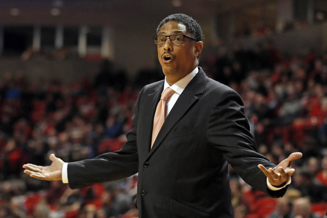 Texas-Rio Grande Valley coach Lew Hill argues a call with the referee during the second half of an NCAA college basketball game against Texas Tech, Friday, Dec. 28, 2018, in Lubbock, Texas. (AP Ph ...