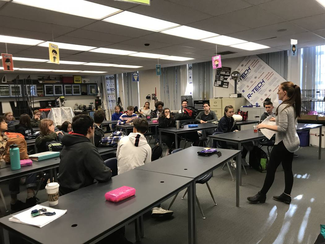 Dawn Minnick-Trujillo prepares a robotics class to pack up for an upcoming robotics competition. Minnick-Trujillo was one of three Clark County School District teachers selected by the Search for ...