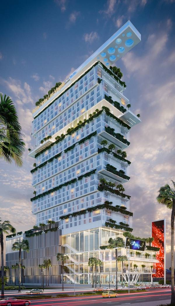 Israeli hotelier Asher Gabay plans to build a 34-story resort, a rendering of which is seen here, on the south Strip across from Mandalay Bay. (Courtesy Astral Hotels)