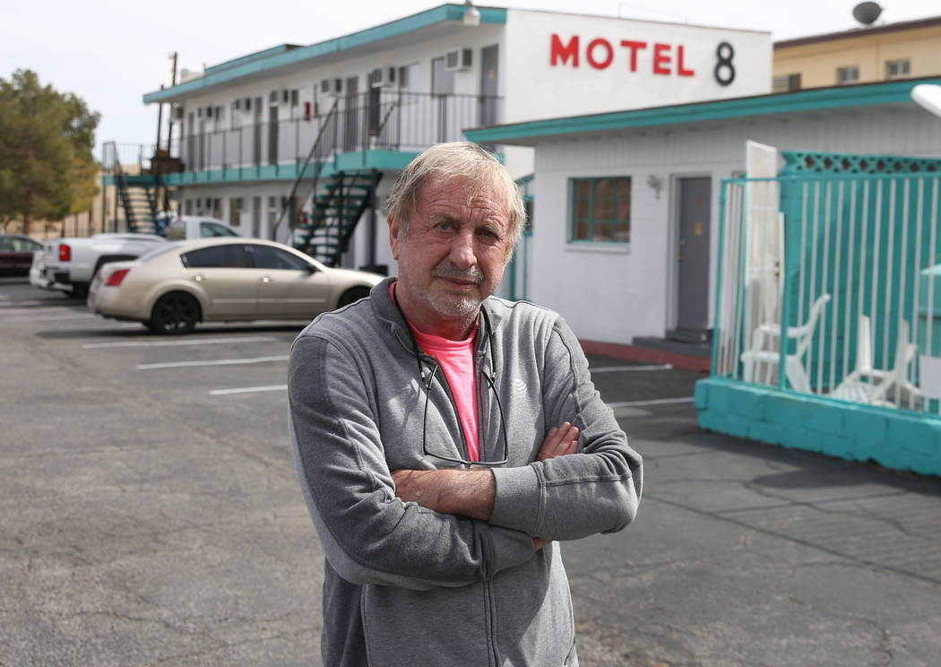 Motel 8 owner Thomas Kovari poses for a photo at his Motel on Friday, March 1, 2019, in Las Vegas. The landlord wants to bulldoze the building and build a hotel-casino. (Bizuayehu Tesfaye Las Vega ...