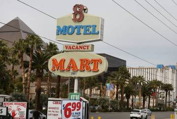 Motel 8 sign is seen on the Strip on Friday, March 1, 2019, in Las Vegas. The Motel 8's landlord wants to bulldoze the building and build a hotel-casino. (Bizuayehu Tesfaye Las Vegas Review-Journa ...