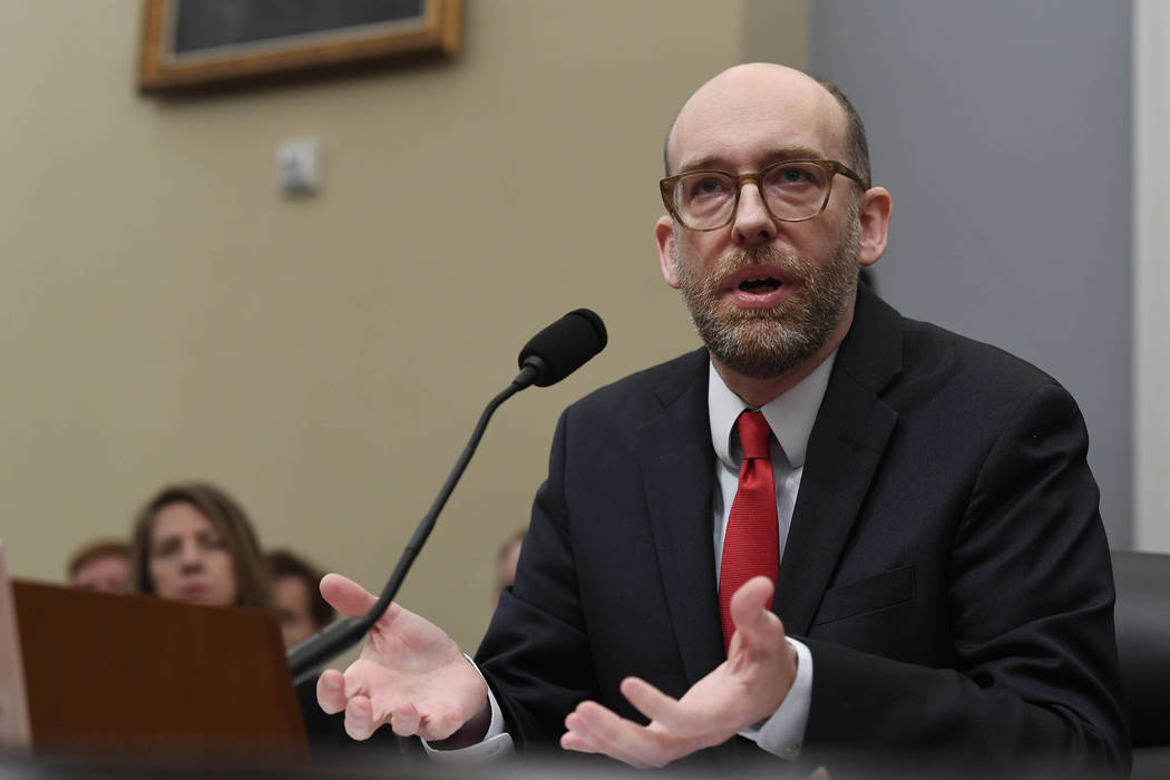 Office of Management and Budget Acting Director Russell Vought testifies before the House Budget Committee on Capitol Hill in Washington, Tuesday, March 12, 2019, during a hearing on the fiscal ye ...