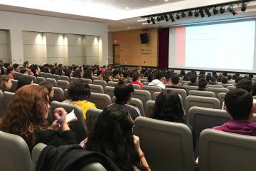 200 Latinx students from four Clark County schools listen to the keynote speech from Dr. Mario Gaspar de Alba, associate dean for diversity and inclusion at UNLV School of Medicine, as part of Lat ...