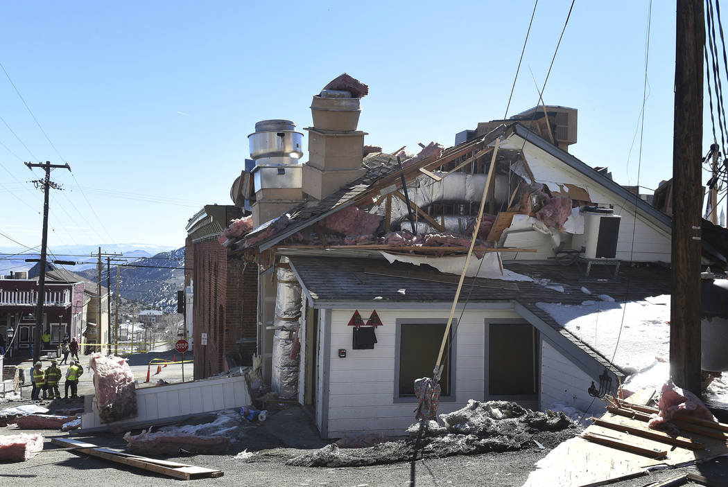 An apparent gas leak triggered an explosion that extensively damaged the historic Delta Saloon in Virginia City, Nevada on Tuesday, March 12, 2019. One employee in the building at the time suffere ...