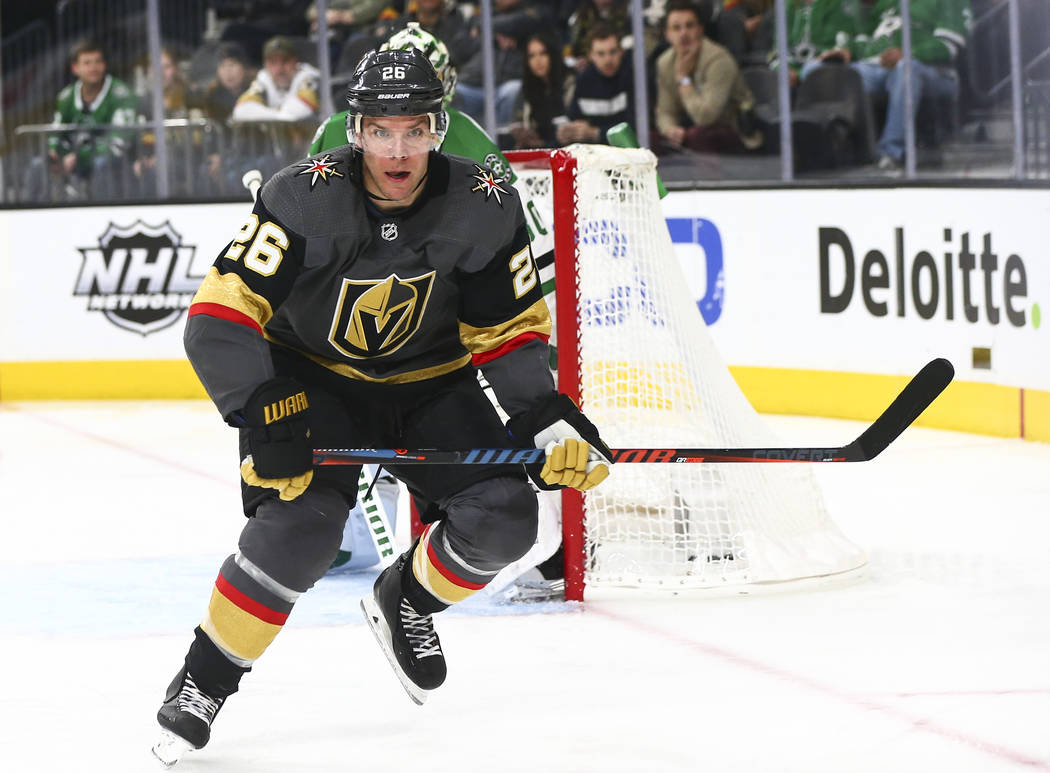 Golden Knights center Paul Stastny (26) chases after the puck during the second period of an NHL hockey game against the Dallas Stars at T-Mobile Arena in Las Vegas on Tuesday, Feb. 26, 2019. (Cha ...