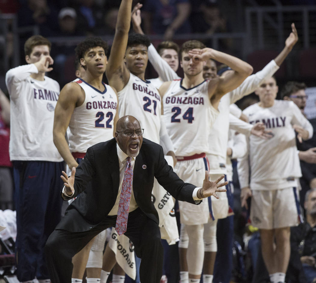 Gonzaga's bench tries to motivate the Bulldogs in the second half during their West Coast Conference finals game with St. Mary's on Tuesday, March 12, 2019, at Orleans Arena, in Las Vegas. St. Mar ...