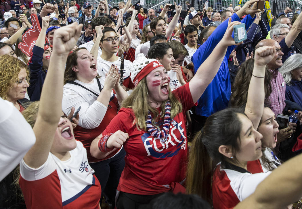 St. Mary's fans celebrate after the Gaels upset Gonzaga 60-47 to win the West Coast Conference championship on Tuesday, March 12, 2019, at Orleans Arena, in Las Vegas. (Benjamin Hager Review-Jour ...