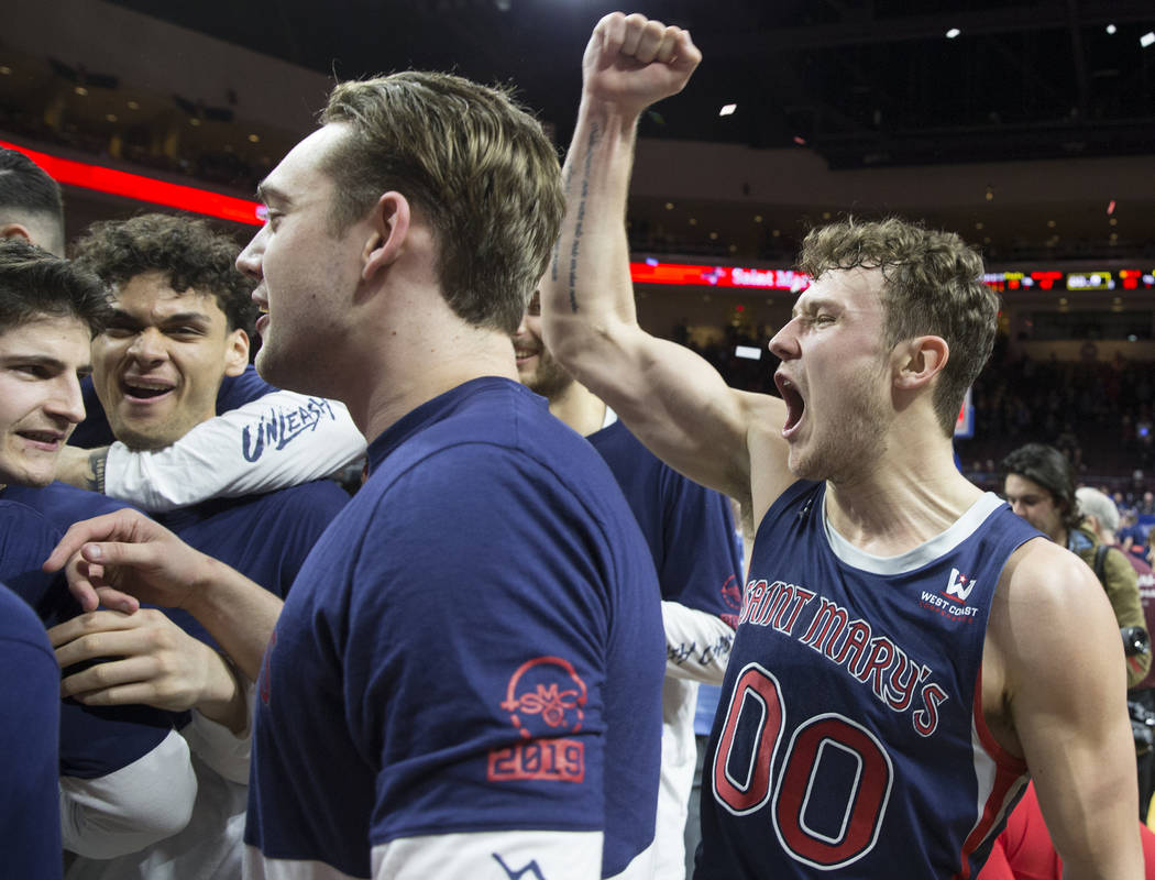 St. Mary's junior guard Tanner Krebs (00) celebrates after the Gaels upset Gonzaga 60-47 to win the West Coast Conference championship on Tuesday, March 12, 2019, at Orleans Arena, in Las Vegas. ...