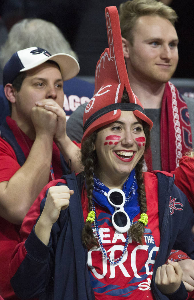 St. Mary's fans cheer for the Gaels in the second half during their West Coast Conference finals game with Gonzaga on Tuesday, March 12, 2019, at Orleans Arena, in Las Vegas. St. Mary's beat Gonza ...