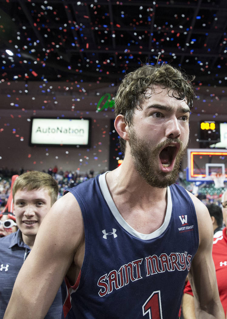 St. Mary's senior center Jordan Hunter (1) celebrates after the Gaels upset Gonzaga 60-47 to win the West Coast Conference championship on Tuesday, March 12, 2019, at Orleans Arena, in Las Vegas. ...