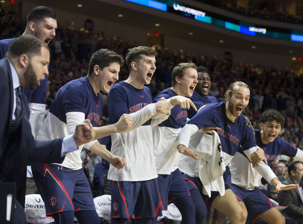 St. Mary's bench erupts in the second half during the Gaels West Coast Conference finals game with Gonzaga on Tuesday, March 12, 2019, at Orleans Arena, in Las Vegas. St. Mary's beat Gonzaga Gonza ...
