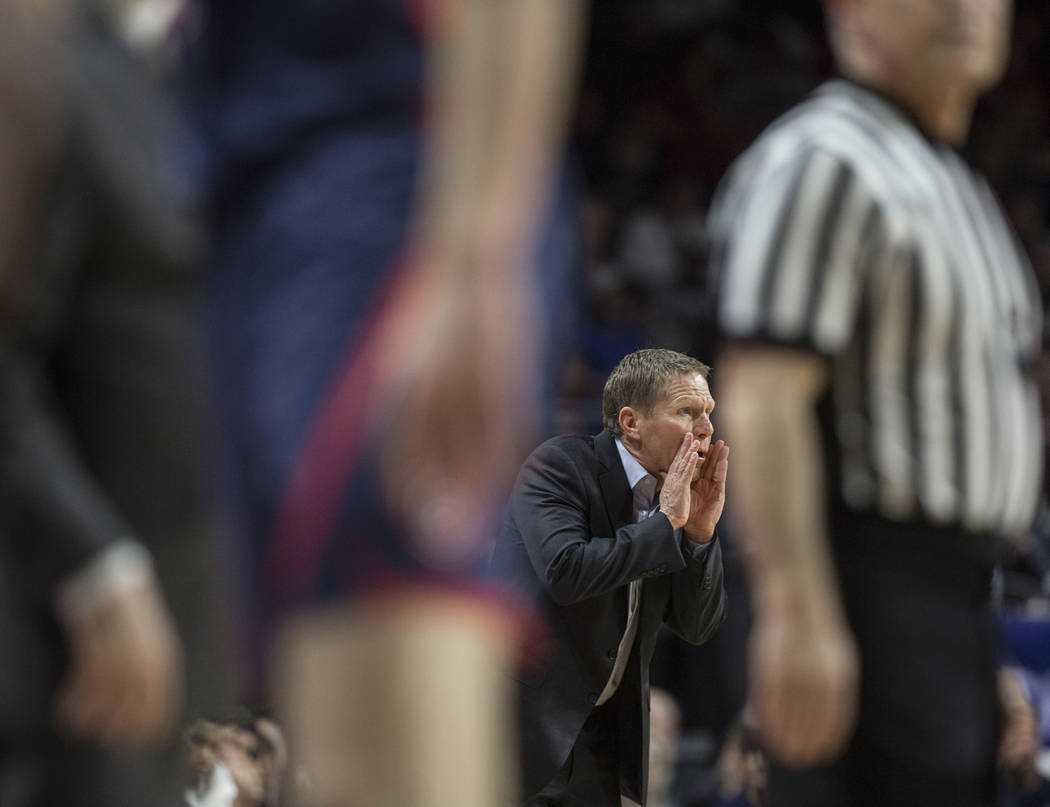 Gonzaga head coach Mark Few calls out a play in the second half during their West Coast Conference finals game with St. Mary's on Tuesday, March 12, 2019, at Orleans Arena, in Las Vegas. St. Mary' ...