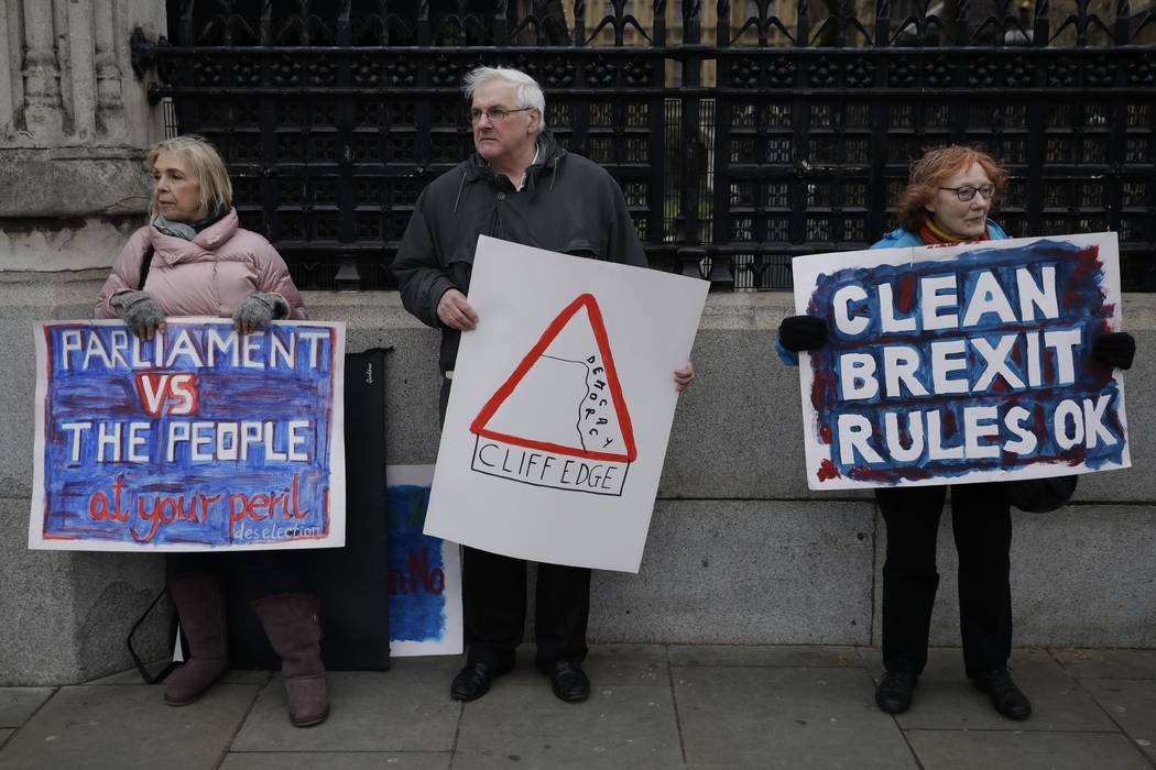 Pro-Brexit leave the European Union supporters, take part in a protest outside the Houses of Parliament in London, Tuesday, March 12, 2019. British Prime Minister Theresa May faced continued oppos ...