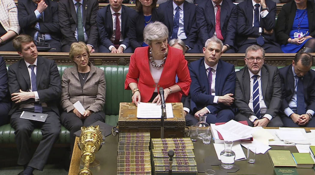 In this image taken from video, Britain's Prime Minister Theresa May speaks to lawmakers in parliament, London, Tuesday March 12, 2019. Britain's Parliament delivered a crushing defeat to P ...