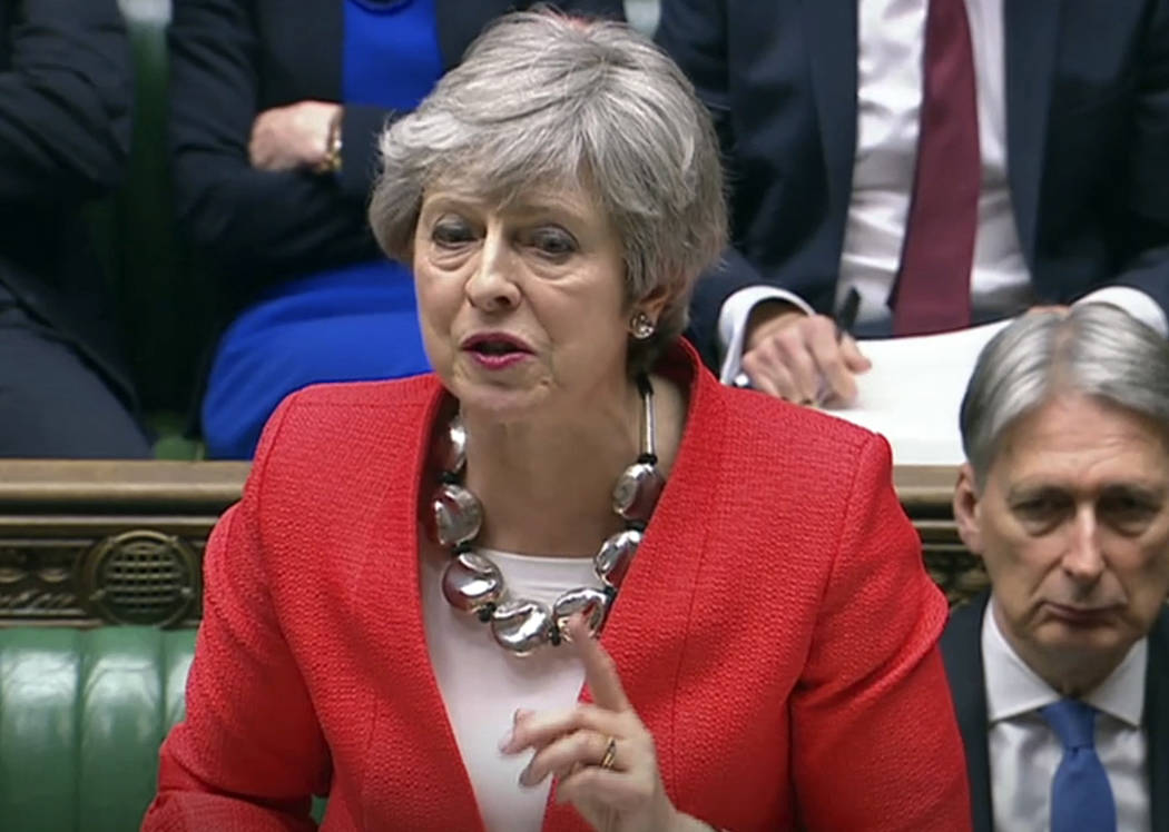 In this grab taken from video, Britain''s Prime Minister Theresa May speaks during the Brexit debate in the House of Commons, London, Tuesday March 12, 2019. Britain's attorney general punctured ...