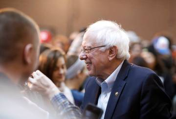 2020 Democratic presidential candidate Sen. Bernie Sanders greets supporters after a rally, Saturday, March 9, 2019, at the Iowa state fairgrounds in Des Moines, Iowa. (AP Photo/Matthew Putney)