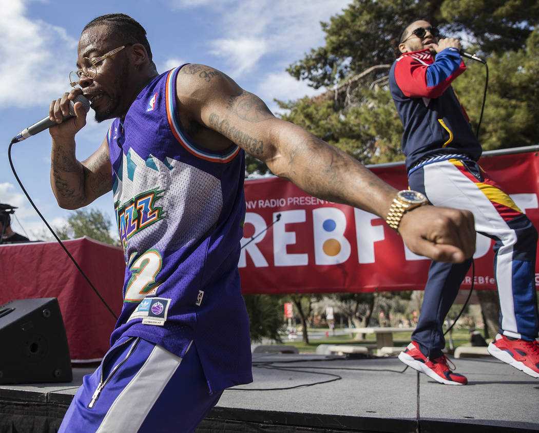Jovi Jov, left, and Goliath Cruz perform at the RebFest Music Festival on Tuesday, March 12, 2019, at UNLV, in Las Vegas. (Benjamin Hager Review-Journal) @BenjaminHphoto