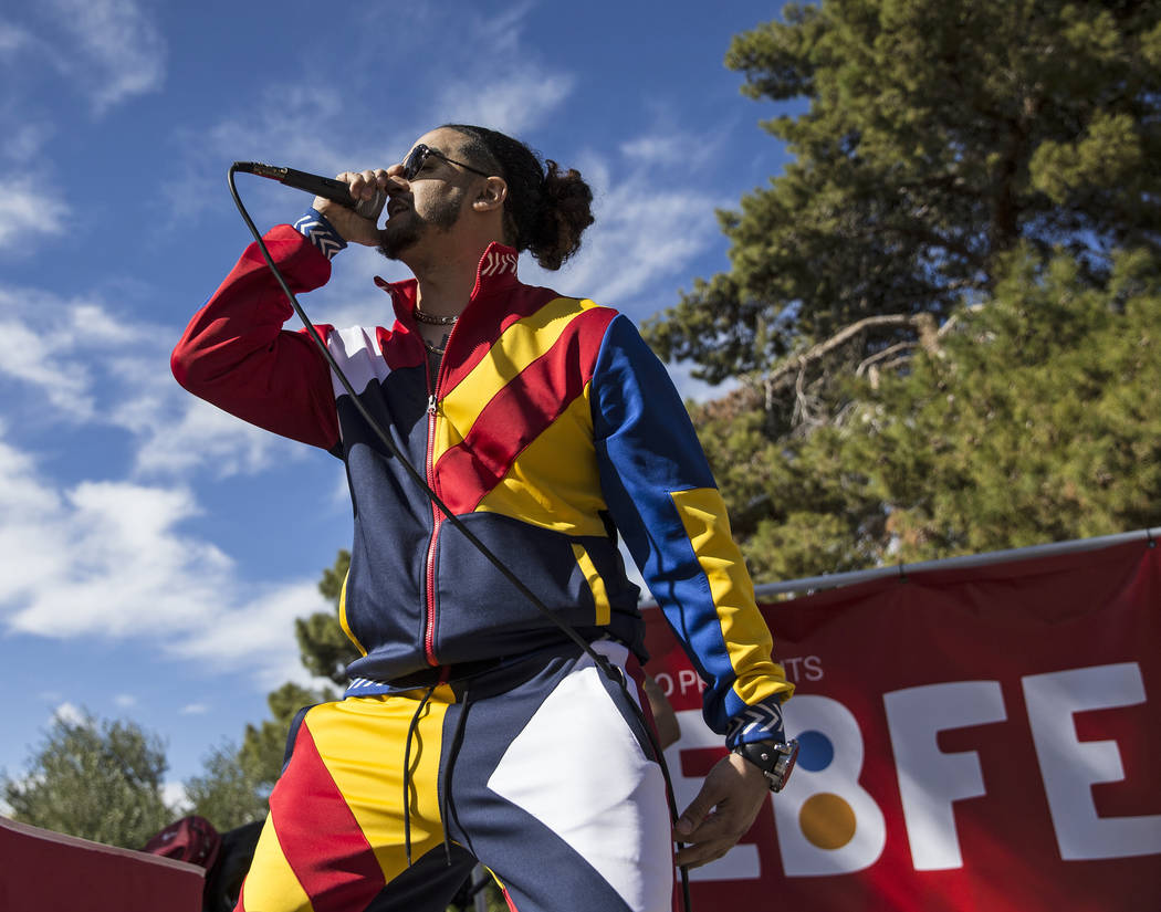 Goliath Cruz performs at the RebFest Music Festival on Tuesday, March 12, 2019, at UNLV, in Las Vegas. (Benjamin Hager Review-Journal) @BenjaminHphoto